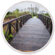 Foot Bridge In Park Round Beach Towel