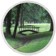 Foot Bridge In The Park Round Beach Towel