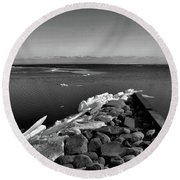 Foot Of 9th Line South Bw  Round Beach Towel