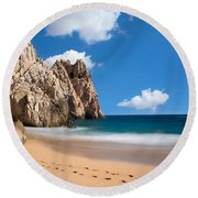 Foot Prints In Cabo Round Beach Towel