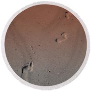 Foot Prints On The Beach Round Beach Towel