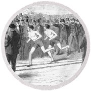 Foot Race, 1868 Round Beach Towel