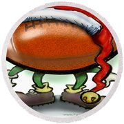Football Christmas Round Beach Towel