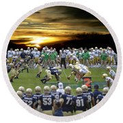 Football Field-notre Dame-navy Round Beach Towel