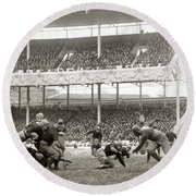 Football Game, 1916 Round Beach Towel