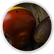 Football Helmet And Football Round Beach Towel