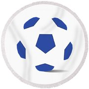 Football Image In Dazzling Blue And White Space Round Beach Towel