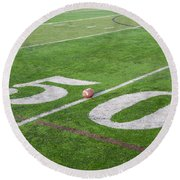 Football On The 50 Yard Line Round Beach Towel