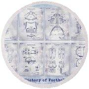 Football Patent History Blueprint Round Beach Towel