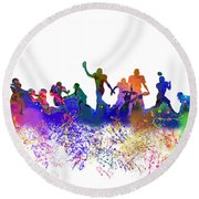Football Players Skyline Round Beach Towel