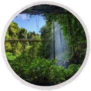 Footbridge And Crystal Falls  In The Rainforest Of Dorrigo In Australia Round Beach Towel