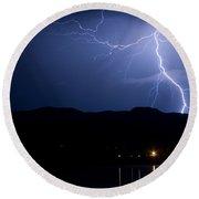 Foothills Lake Lightning Extreme Weather Storm Round Beach Towel