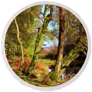 Footpath At The Edge Of Lantys Tarn In The Lake District Cumbria Round Beach Towel