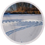 Footprint Snow Ring On A Frozen River In Winter At The Toronto I Round Beach Towel