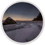 Footprints In Snow Around The Pyramid Rock Round Beach Towel