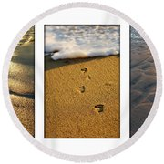 Footprints In The Sand Round Beach Towel
