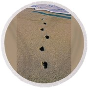 Footprints In The Sand ... Round Beach Towel