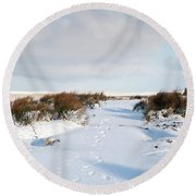 Footprints In The Snow Iv Round Beach Towel