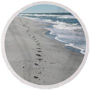 Footsprints In The Sand Round Beach Towel