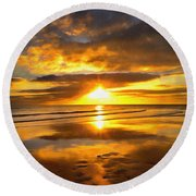 Footsteps  Beneath The Sunset I  Round Beach Towel