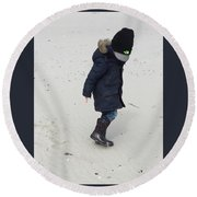 Footsteps In Sand Round Beach Towel