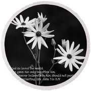 For God So Loved Black-eyed Susan Flower Round Beach Towel