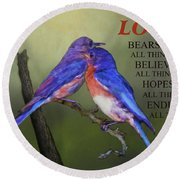 For Love Of Bluebirds And Scripture Round Beach Towel