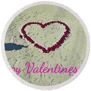 For My Valentine Round Beach Towel