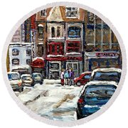 For Sale Original Paintings Montreal Petits Formats A Vendre Downtown Montreal Rue Stanley Cspandau  Round Beach Towel