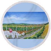For The Love Of Chickens Round Beach Towel