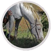 For The Love Of His Horse Round Beach Towel