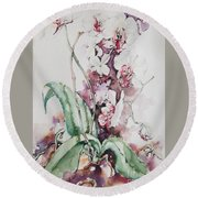 For The Love Of Orchids Round Beach Towel