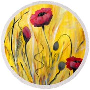 For The Love Of Poppies Round Beach Towel