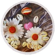 For The Love Of Summer And Life Round Beach Towel
