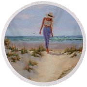 For The Love Of The Sea Round Beach Towel by Laura Lee Zanghetti