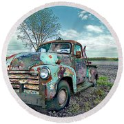 For Whom The Truck Tows Round Beach Towel