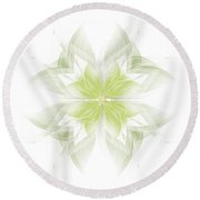 Flora White Green Round Beach Towel