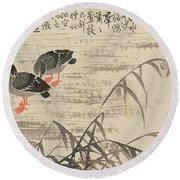 Foraging In The Wild Goose River Round Beach Towel