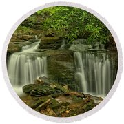Forbes State Forest Twin Falls Round Beach Towel