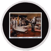 Forbidden Planet Amazing Poster Inside With Scientist Round Beach Towel