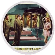 Forbidden Planet In Cinemascope Retro Classic Movie Poster Indoors Round Beach Towel