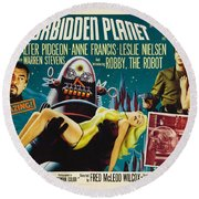 Forbidden Planet In Cinemascope Retro Classic Movie Poster Round Beach Towel