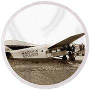 Ford 4-at-a Maddux Air Lines Los Angeles Circa 1928 Round Beach Towel