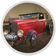 Ford Coupe Cartoon Photo Abstract Round Beach Towel