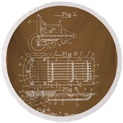 Ford Engine Lubricant Cooling Attachment Patent Drawing 1a Round Beach Towel