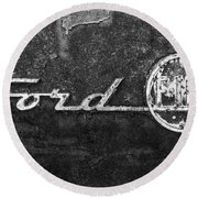 Ford F-100 Emblem On A Rusted Hood Round Beach Towel