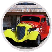 Ford Flaming Hot Rod Round Beach Towel