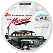 Ford Mercury Ad, 1946 Round Beach Towel