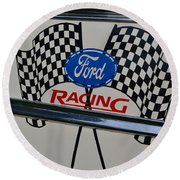 Ford Racing Emblem Round Beach Towel