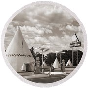 Ford Roadster At An Indian Gas Station Sepia Round Beach Towel